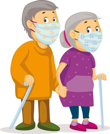 Two Old People Holding Hands - Grandmother and Grandfather with a Cloth Face Mask - Vector  Illustration