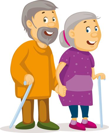 Two Old People Holding Hands - Grandmother and Grandfather with a Cane in Hand - Vector Illustration