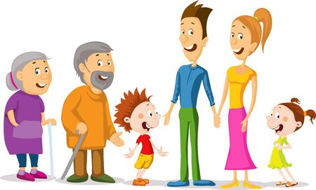 Whole Family Character Cartoon Standing Together - Vector Illustration Isolated on white Background