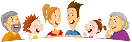 The Whole Family Peeks Out from Behind the White Area - Vector Illustration Illustration