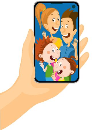 Call to all Family - Mobile phone in Hand - Vector Illustration