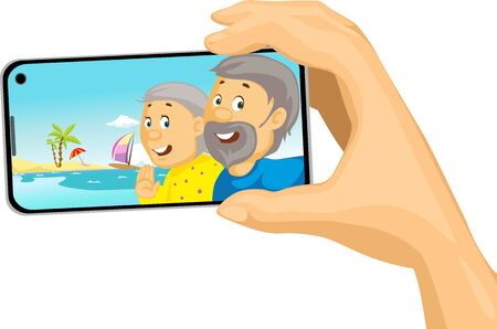 Senior Couple Make Selfie Photo with Mobil Phone from the Beach Tropical Holiday - Vector Illustration Isolated on white Background