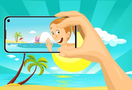 Young Woman Make Selfie Photo with Mobil Phone from the Beach Tropical Holiday - Vector Illustration with Background