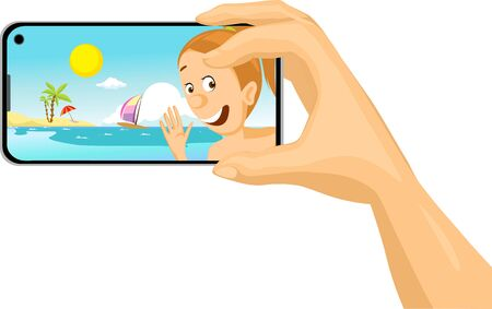 Young Woman Make Selfie Photo with Mobil Phone from the Beach Tropical Holiday - Vector Illustration Isolated on white Background