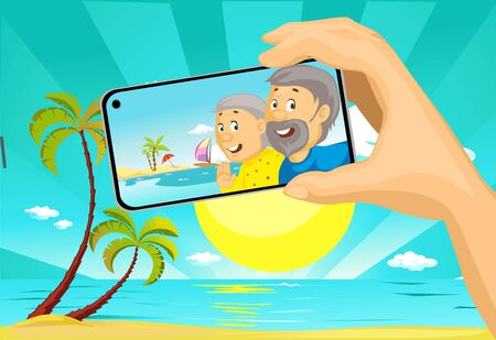 Senior Couple Make Selfie Photo with Mobil Phone from the Beach Tropical Holiday - Vector Illustration with Background Illustration