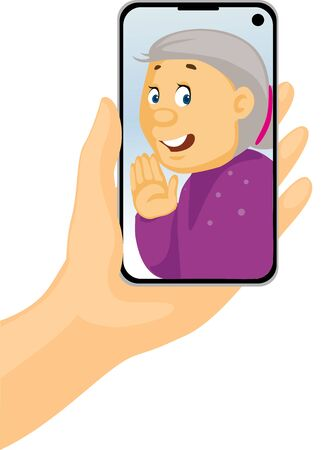 Video Call with Grandma - Phone in Hand - Stay at Home - Vector Illustration Illustration