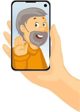 Video Call with Grandpa - Phone in Hand - Stay at Home - Vector Illustration