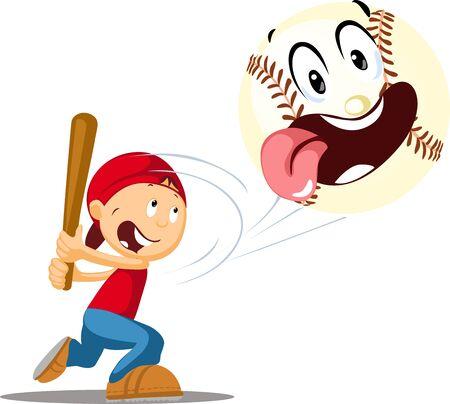 Boy Bats a Baseball - Cheerful and Funny Vector Illustration Illustration
