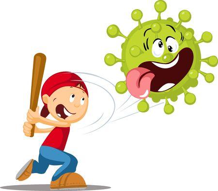 Hit the virus with a Baseball Bat Illustration