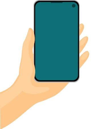 Mobile Phone in Hand - Vector Illustration Isolated on white Background Illustration