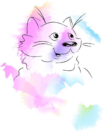 Cute Cat Watercolor Style Vector Illustration