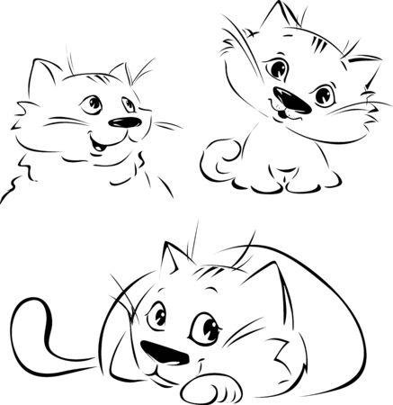 Cute Cat  - Black Sketch in 3 pozition - Black Outline Vector Illustration