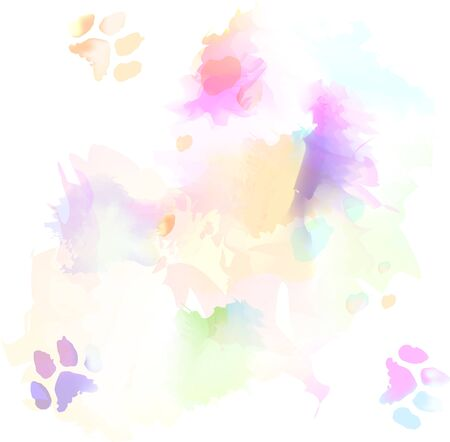 Watercolor and Cat Paw Print on White Paper - Background Texture Pattern
