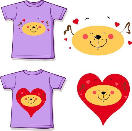 T shirt Design - Dog in Love Printed Design