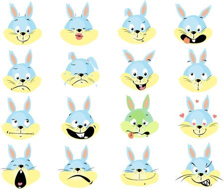 Rabbit Emoticon - Simple Fat Design Vector Illustration Set