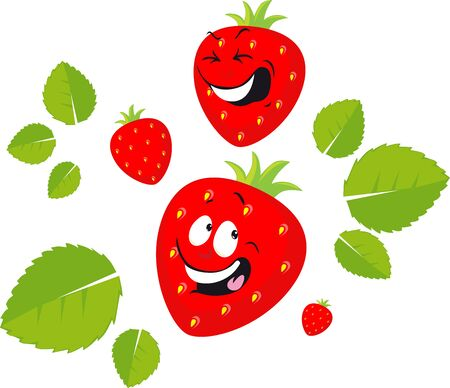 Funny Strawberry Cartoon Smiling - Vector Flat Design Illustration