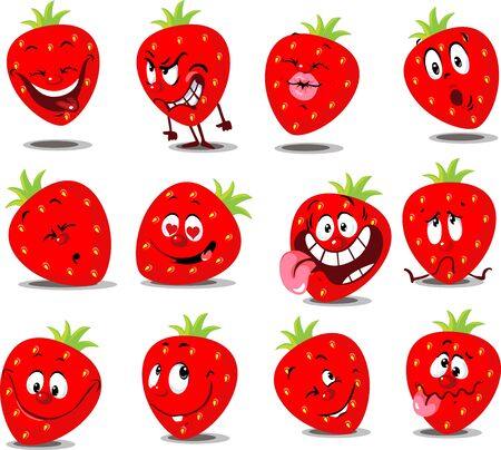 Strawberry Emoticon - Flat Vector Illustration with Many Expression Illustration