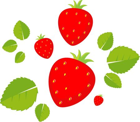 Strawberry Flat Design Vector Illustration Isolated on White Background