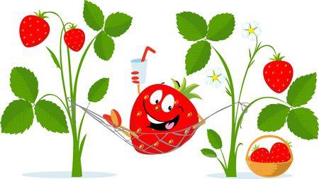 Strawbery Character Rest in Hammock, Drink Juice - Vector Cartoon Illustration Flat Design