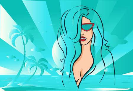 Beach Girl Abstract Design Illustration - Vector