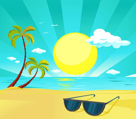 Sun Glasses on the Tropical Beach with Palm Tree- Vector Illustration