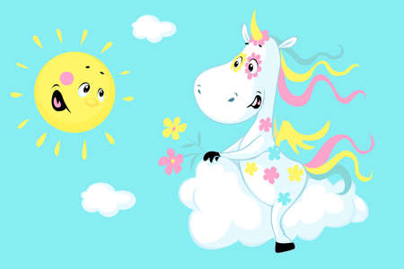 Cute Unicorn Sitting on a Cloud and Smiling Sun - Vector Illustration
