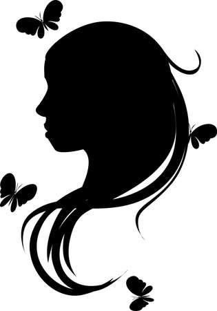 Beautiful Romantic Girl or Woman Head Silhouette with Butterflies Flying Around - Vector Illustration Illustration