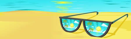 Sun Glasses on the Beach with Sunset Reflection - Vector Illustration