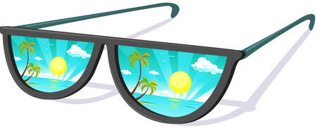 Sun Glasses with tropical Beach Reflexion - Vacation Vector Illustration Illustration