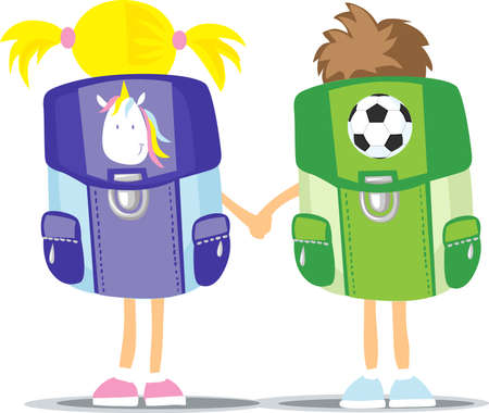 Back to School - Two Students Hold Hand - Girl and Boy - back View - Vector Illustration Illustration