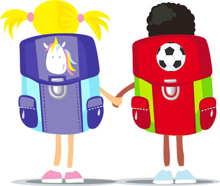 Back to School - Two Small Students - Vector Illustration