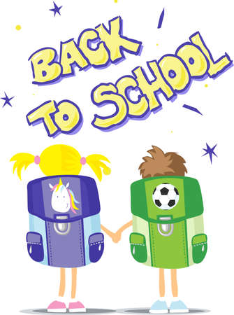 Two Students Go Back to School - Vector Illustration