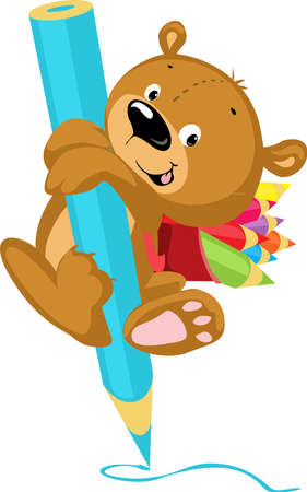 Cute Bear Drawing with Crayon - Funny Vector Illustration Cartoon Illustration