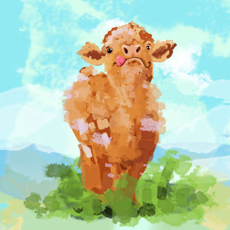 Cute Abstract Brown Cow Watercolor Illustration with Abstract Grass and Sky Background Standard-Bild