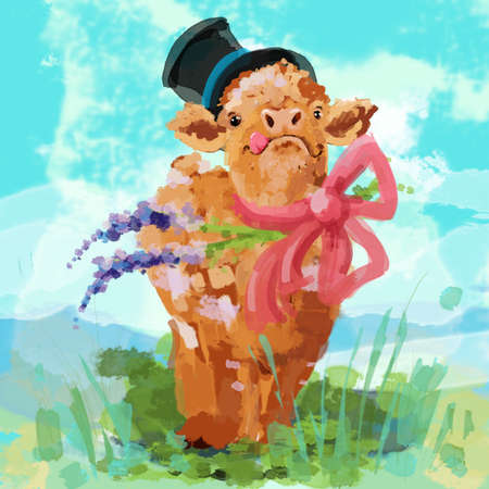 Crazy Calf with Hat and Bow Watercolor Illustration in Landscape