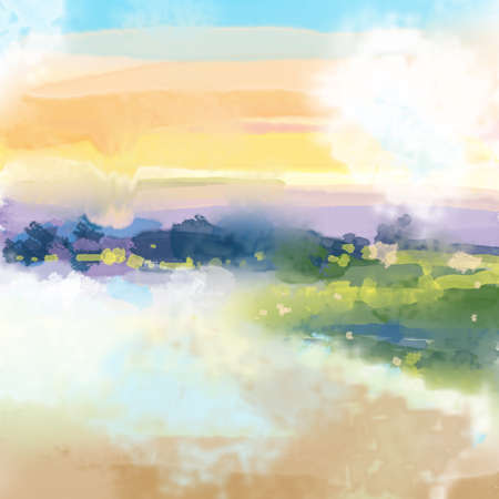 Abstract Sunset Landscape Watercolor Digital Painting