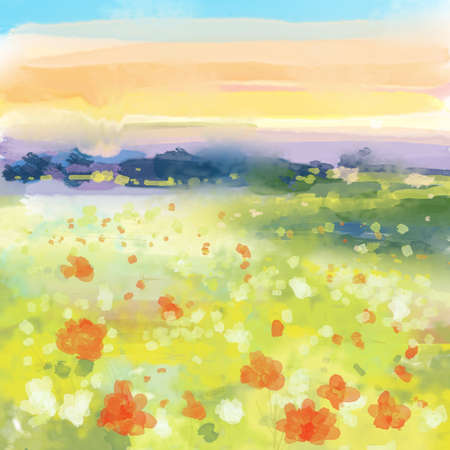Abstract Sunset Landscape with Red and white Flowers - watercolor Illustration