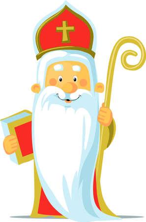 Saint Nicholas - Vector Illustration Isolated on White Background Illusztráció