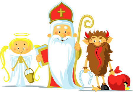 Saint Nicholas, Devil and Angel - Vector Illustration Isolated on White Background. During the Christmas Season they are Warning and Punishing Bad Children and Give Gifts to Good Children. Illustration