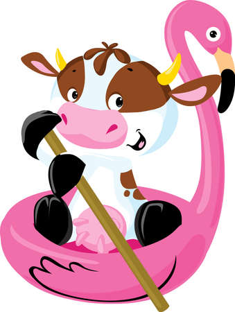 Cute Cow Floating on Inflatable Flamingo - Vector Illustration
