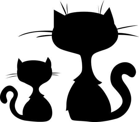 Two Cute Cat Cartoon Silhouette Sitting - Vector illustration Illustration