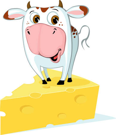 ute Cow Standing on the Cheese - Funny Vector Cartoon Illustration