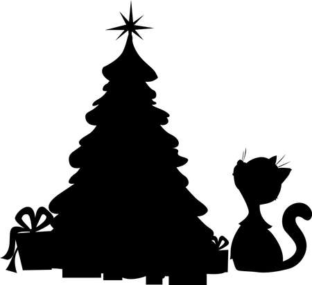 Cat and Christmas Tree - Silhouette Vector Illustration on White Standard-Bild