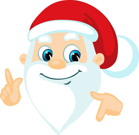 Santa Claus - Head and Hand Cartoon Vector Illustration Isolated on White