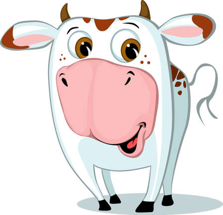 Cute Funny Cow Character Cartoon Vector Illustration