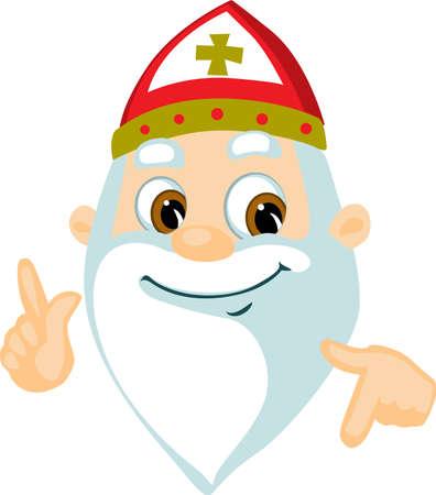 Saint Nicolas - Head and Hand Cartoon Vector Illustration Isolated on White Illustration