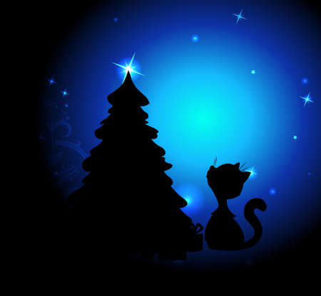 Romantic Christmas Night with Cute Cat and Christmas Tree - Blue Background Illustration
