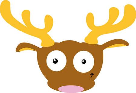 Cute Reindeer Head- Flat Simple Design Illustration Vector Illustration