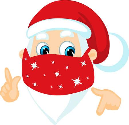 Santa Claus wit Face Mask - Coronavirus Christmas - Funny Vector Cartoon Illustration