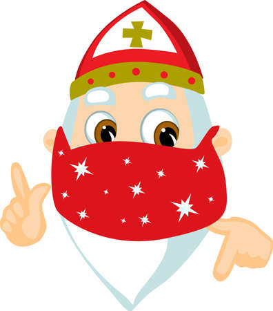 Saint Nicolas - with Face Protection Cartoon Vector Illustration Isolated on White
